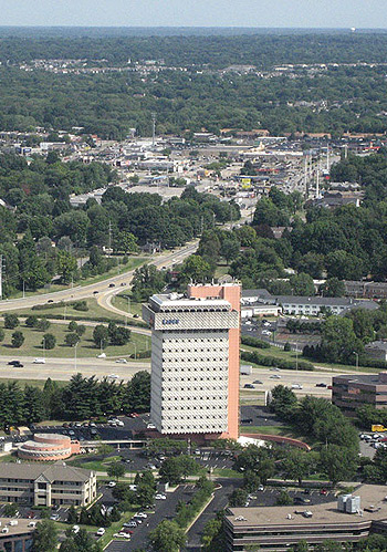 The Kaden Tower is seen from the west in a 2007 aerial view of its setting in suburban Louisville.